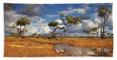 Gidgee Trees And Waterhole Queensland Hand Towel