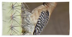 Bath Towel featuring the photograph Gila Woodpecker by Deb Halloran