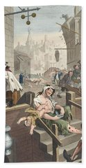 Gin Lane, Illustration From Hogarth Hand Towel