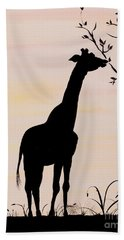 Giraffe Silhouette Painting By Carolyn Bennett Hand Towel by Simon Bratt Photography LRPS
