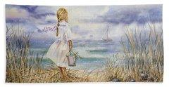 Girl At The Ocean Hand Towel