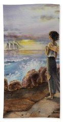Hand Towel featuring the painting Girl And The Ocean Sailing Ship by Irina Sztukowski