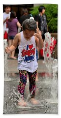 Girl Child Plays With Water At Fountain Singapore Bath Towel