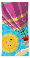 Girl In A Balloon Greeting A Happy Sun Hand Towel