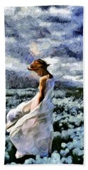 Girl In A Cotton Field Hand Towel