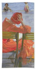 Girl In A Red Dress Reading By A Swimming Pool Bath Towel