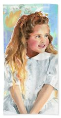 Girl In A White Lace Dress  Hand Towel