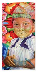 Girl In Flowers Hand Towel