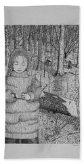 Bath Towel featuring the drawing Girl In The Forest by Daniel Reed
