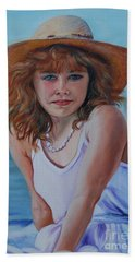 Girl In The Straw Hat Bath Towel by Susan Duda