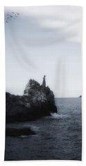 Girl On Cliffs Hand Towel by Joana Kruse