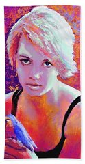 Hand Towel featuring the digital art Girl On Fire by Jane Schnetlage