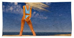Girl On The Beach...watercolor Effected Hand Towel