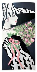 Girl That Loves Pink  Art Deco Hand Towel
