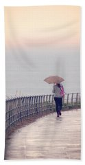 Girl Walking With Umbrella Bath Towel