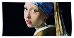 Girl With A Pearl Earring Bath Towel