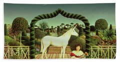 Girl With A Unicorn Hand Towel by Anthony Southcombe