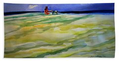Girl With Dog On The Beach Hand Towel