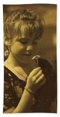 Girl With Flower Hand Towel by Hanny Heim