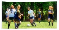 Girls Playing Soccer Hand Towel