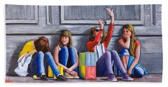 Girls Waiting For Ride Hand Towel
