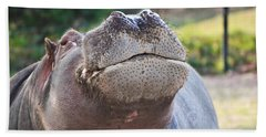 Hand Towel featuring the photograph Give Me A Kiss Hippo by Eti Reid