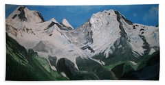 Bath Towel featuring the painting Glacier Lake by Sharon Duguay