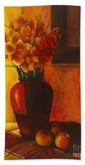 Bath Towel featuring the painting Gladioli Red by Marlene Book