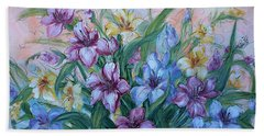 Gladiolus Hand Towel by Natalie Holland