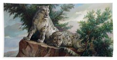 Glamorous Friendship- Snow Leopards Bath Towel