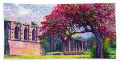 Hand Towel featuring the painting Glastonbury Abbey Blossom by Jane Small
