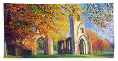 Hand Towel featuring the painting Glastonbury Abbey Fall by Jane Small