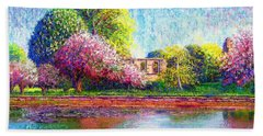 Hand Towel featuring the painting Glastonbury Abbey Lily Pool by Jane Small