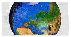 Bath Towel featuring the painting Globe 3d Picture by Georgi Dimitrov