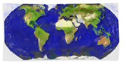 Global Map Painting Hand Towel
