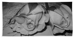 Bath Towel featuring the photograph Global Monochrome Roses by Sandra Foster