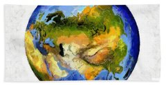 Globe World Map Hand Towel by Georgi Dimitrov