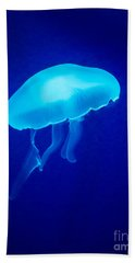 Glowing Blue Jellyfish Hand Towel