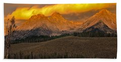 Glowing Sawtooth Mountains Hand Towel