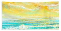 Glowing Waves - Seascapes Sunset Abstract Hand Towel