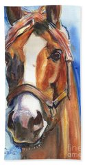 Horse Painting Of California Chrome Go Chrome Hand Towel by Maria's Watercolor