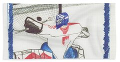 Hand Towel featuring the drawing Goalie By Jrr by First Star Art