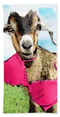 Goat Art - Oh You're Home Hand Towel by Sharon Cummings