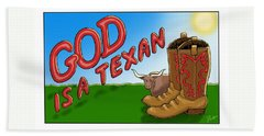 God Is A Texan Hand Towel by Jerry Ruffin