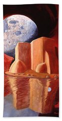 Bath Towel featuring the painting God Is In The Moon by Art James West