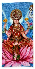 Bath Towel featuring the painting Goddess Lakshmi by Harsh Malik