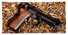 Gold 9mm Beretta With Brass Ammo Bath Towel
