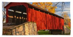 Gold Above The Poole Forge Covered Bridge Hand Towel