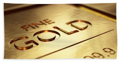 Gold Bars Close-up Hand Towel
