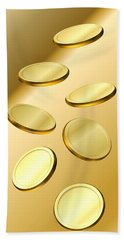 Hand Towel featuring the digital art Gold Coins by Cyril Maza